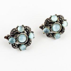 Vintage Moonglow Fiber Optic Glass Earrings